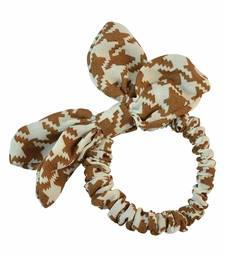 Buy Geometric Print Beige Fabric Hair Rubber Band for Women Other online