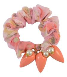 Printed Peach Fabric Hair Rubber Band for Women