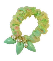 Printed Green Fabric Hair Rubber Band for Women