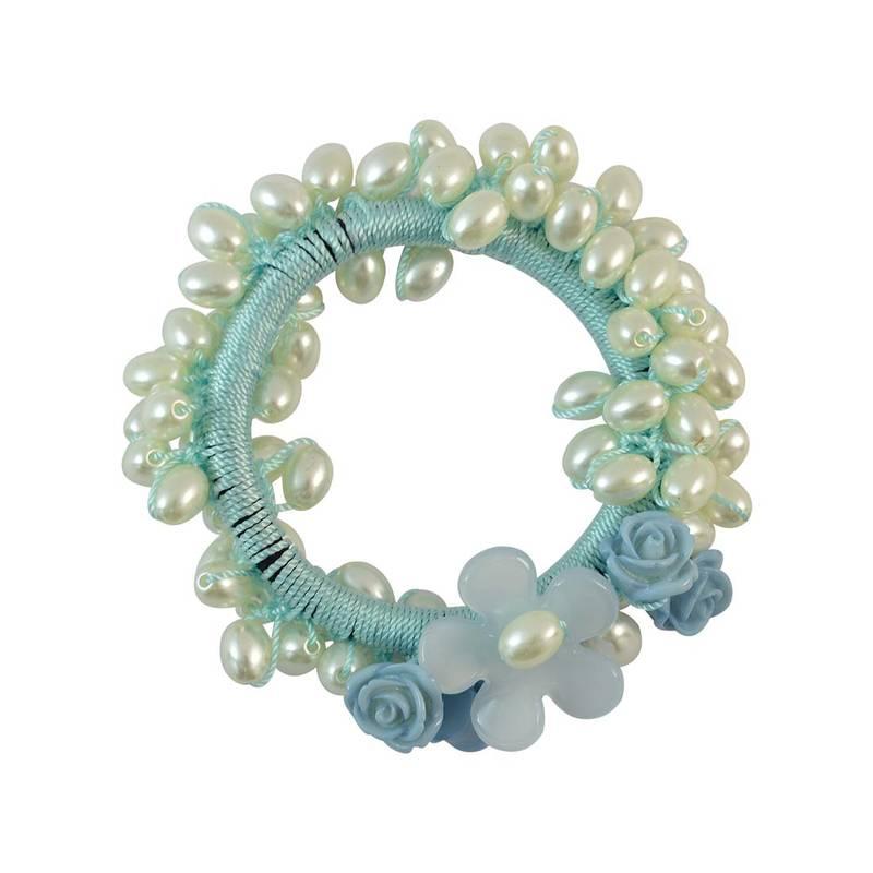 Kanjivaram Beads: Beads Blue Fabric Hair Rubber Band For Women