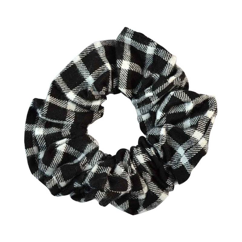 Buy Checked Black Fabric Hair Rubber Band For Women Online