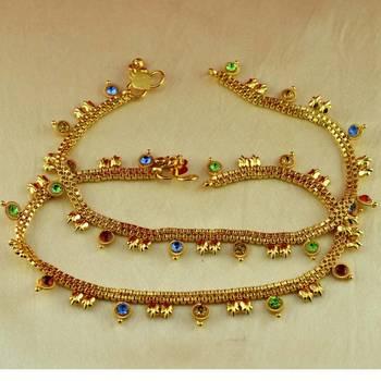 "anklet gold platted stone meenakri cz ad moti pearl polki kundun size-10""inch"