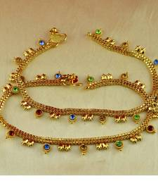 "Buy anklet gold platted stone meenakri cz ad moti pearl polki kundun size-10""inch  anklet online"