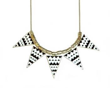 Aztec Print Necklace-Black