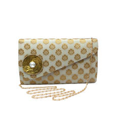 Buy Brocade Clutch With Stylish Flap (White) eid-bag online