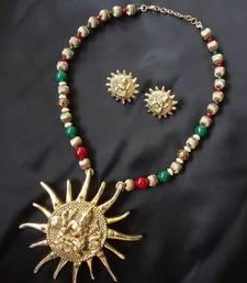Buy Laxmi ji on sun Pendant Necklace with earrings necklace-set online