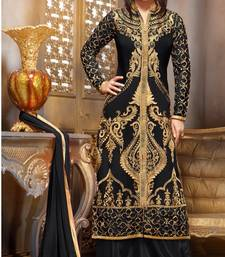 Buy Styles Closet Black embroidered georgette semi stitched salwar with dupatta party-wear-salwar-kameez online