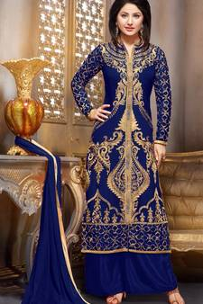 445345920f Blue embroidered georgette semi stitched salwar with dupatta