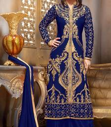Buy Blue embroidered georgette semi stitched salwar with dupatta women-ethnic-wear online