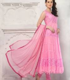 Buy pink brasso net semi stitched salwar with dupatta party-wear-salwar-kameez online