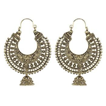 Ethnic Golden Metal Hoop Earrings