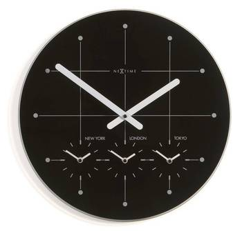 214Zw-BIG CITY World Time Black Clock for Office