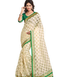 Buy Cream embroidered Tissue saree with blouse tissue-saree online