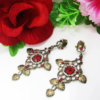 Victorian Oxidised Floral Dangler Blood Red