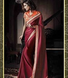 Buy Maroon embroidered satin saree with blouse party-wear-saree online