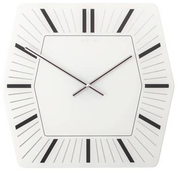 8128wi-Hexagone Black and White Clock