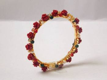 Rose bangle-red white and green