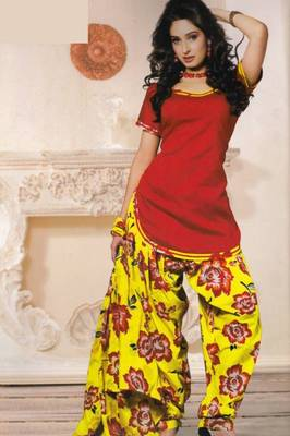 Dress Material (Printed) Silk Cotton with Patiyala Bottom Unstitched D.No 201