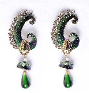 Peacock earring in Kan phool style