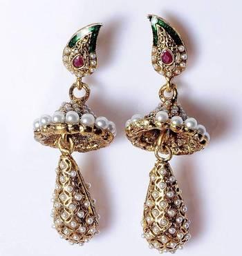 Rajwadi style earrings with jhoomkas