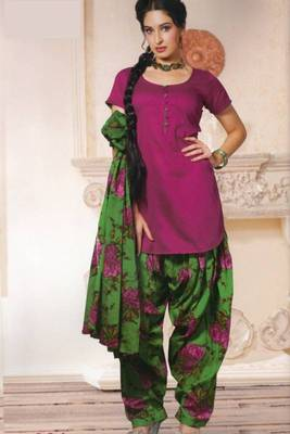 Dress material (printed) silk cotton with patiyala bottom unstitched d.no 204