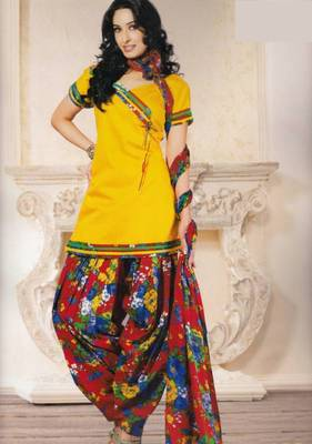 Dress material (printed) silk cotton with patiyala bottom unstitched d.no 205