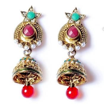 Polki Style earrings with Jhoomka