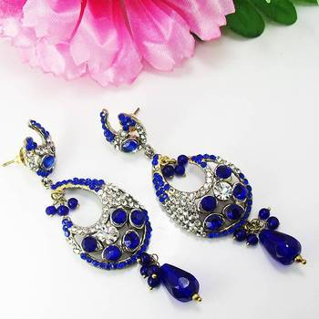 Victorian Elegant Danglers Dark Blues