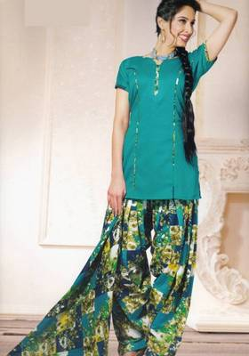 Dress material (printed) silk cotton with patiyala bottom unstitched d.no 210