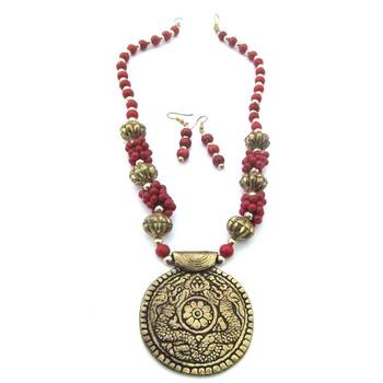 Brass Red Necklace