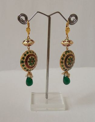 The Meenakari Jhumkas-Green n the Green Drop