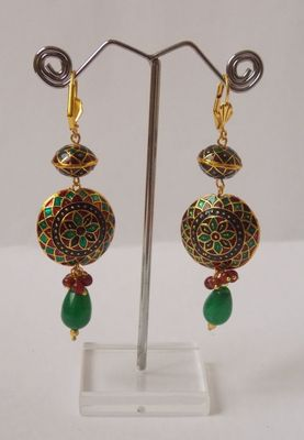 The Meenakari Jhumkas-Multi color n the Green Drop
