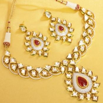 Ruby Kundan And American Diamond Fusion Necklace Set
