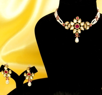 Ruby and Pearl Elegant Choker Necklace Set