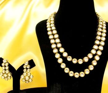 Kundan Meenakari Double Line Necklace Set