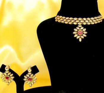 Elegant Kundan Ruby Choker Necklace Set