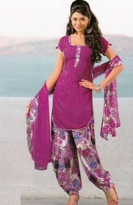 Dress Material Crepe Unstitched Patiala Salwar Kameez Suit D.No 6154
