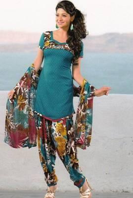 Dress Material Crepe Unstitched Patiala Salwar Kameez Suit D.No 6155