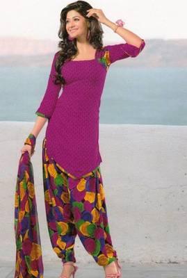 Dress Material Crepe Unstitched Patiala Salwar Kameez Suit D.No 6161