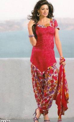 Dress Material Crepe Unstitched Patiala Salwar Kameez Suit D.No 6170