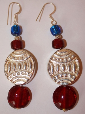 Electric Blue & Red Danglers.