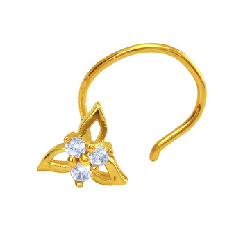 Gold Plated Tri-petals Nosepin with CZ for Women