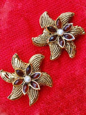 Ethnic Golden Maroon Studs