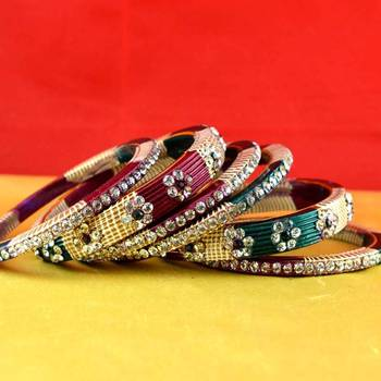 rajasthani lakh bangles muti coulor  stone size-2.4