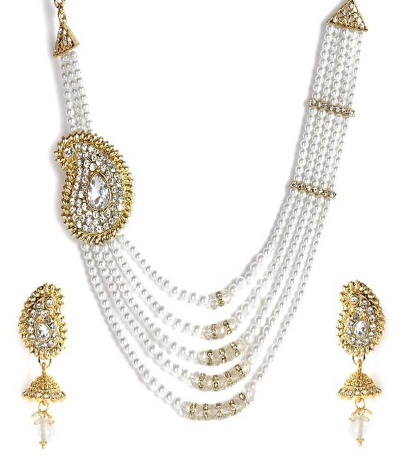 Pearl Necklace Styles: Paisley Style Pearl Necklace Set