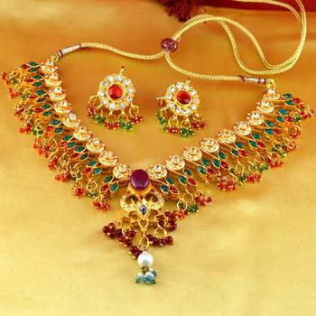 necklace gold platted stone meenakari cz ad moti pearl polki kundun with earing