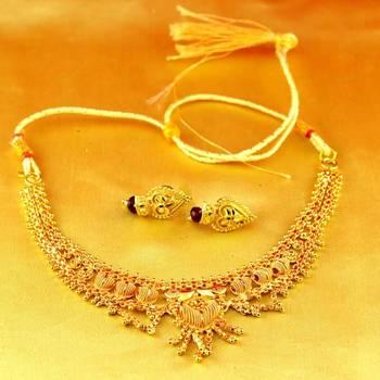 necklace gold platted stone meenakari cz ad moti pearl polki kundun with earing