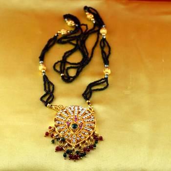 "mangalshutra gold platted stone meenakari cz ad moti pearl polki kundun size 24""inch"