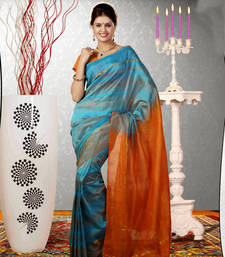 Blue woven dupion silk saree with blouse shop online