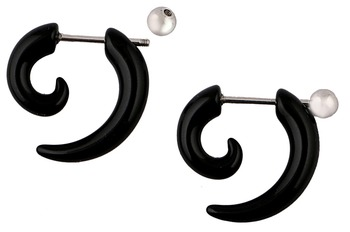 Black Silver Black Surgical Stainless Steel Pair Stud Earring for Men